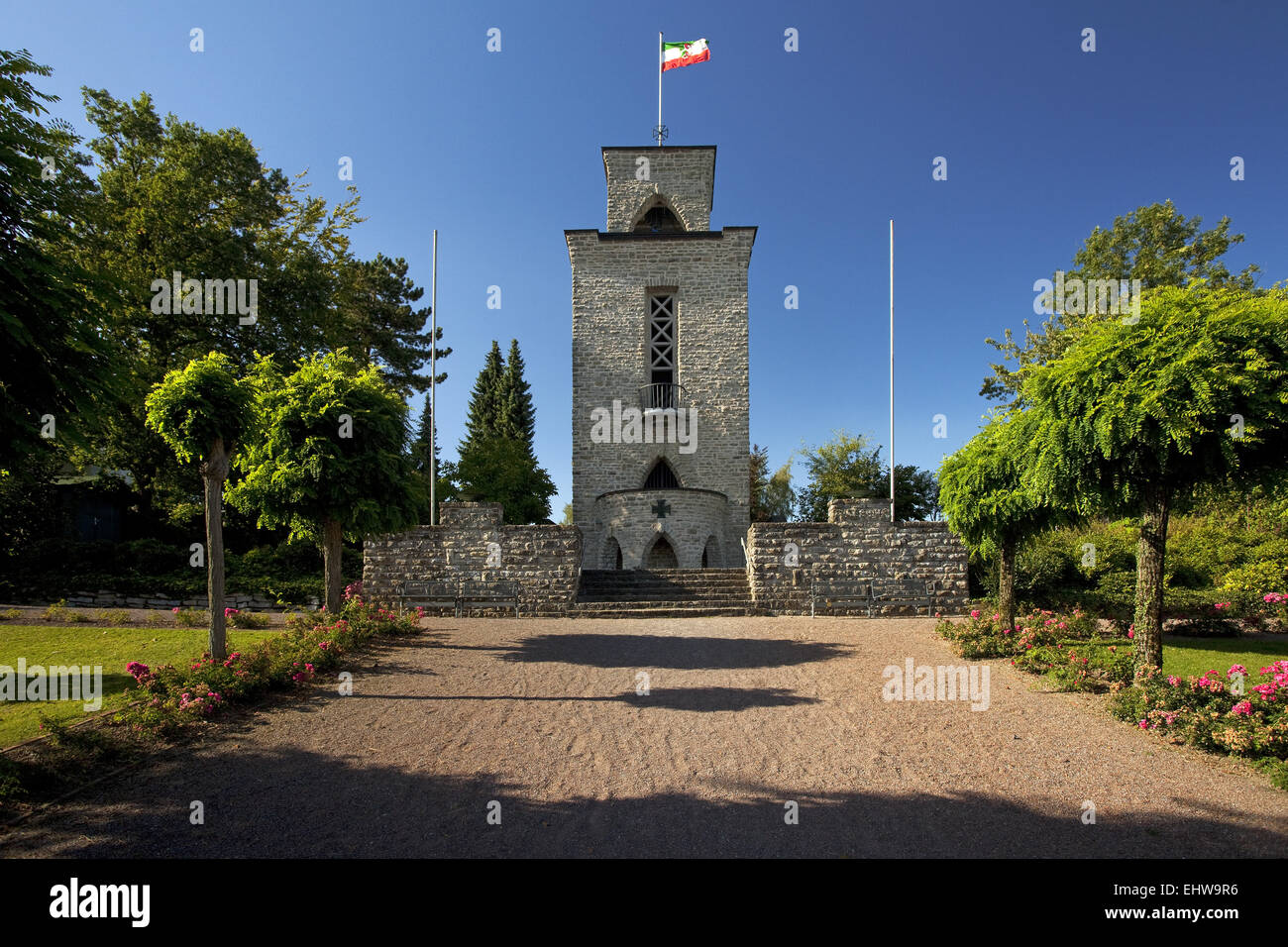 The tower of the memorial in Sundern. - Stock Image