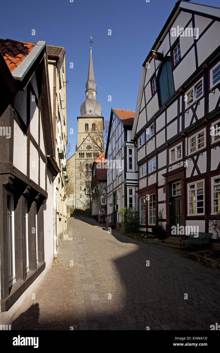 The Krämergasse in Werl in Germany. Stock Photo