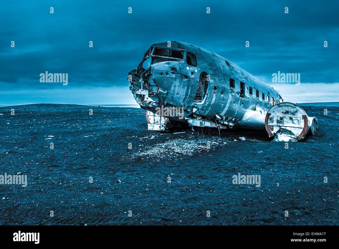 Dakota plane wreckage, Iceland - Stock Image