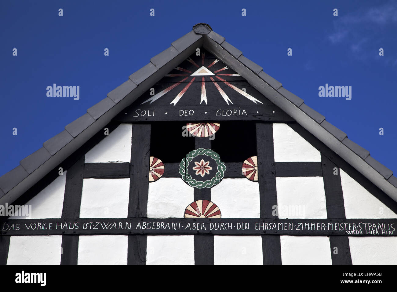 Detail of a half-timbered house in Meschede. - Stock Image