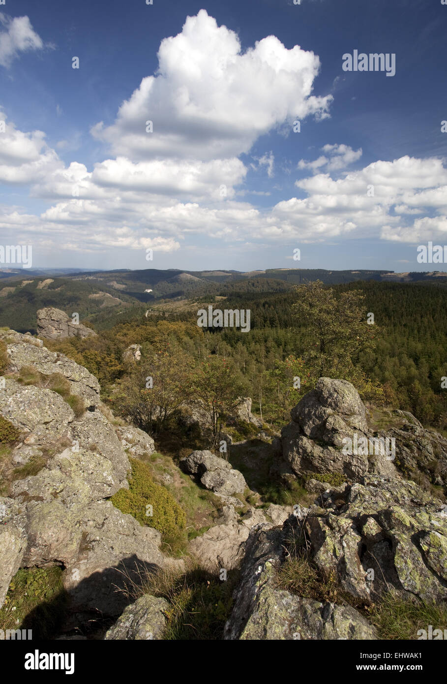 View from the Bruchhauser stones in Olsberg. - Stock Image