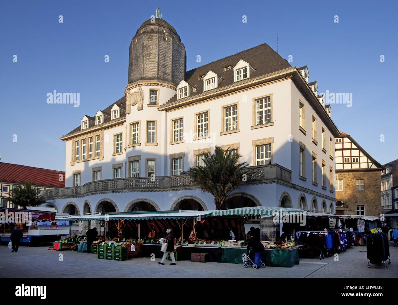 The old town hall in Menden, Germany. - Stock Image