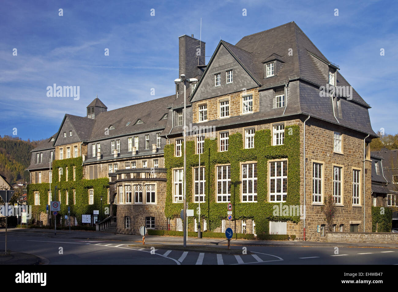 The Town Hall in Werdohl in Germany. - Stock Image