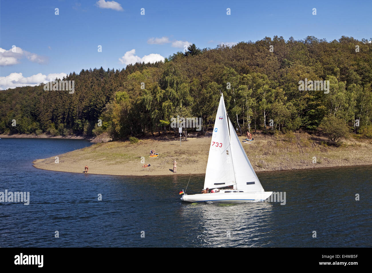 Sailboat on the Bigge in Germany. - Stock Image