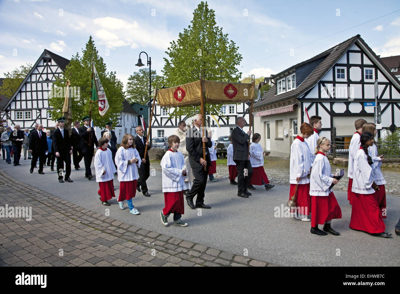 Procession on Ascension Day, Kirchveischede. - Stock Image