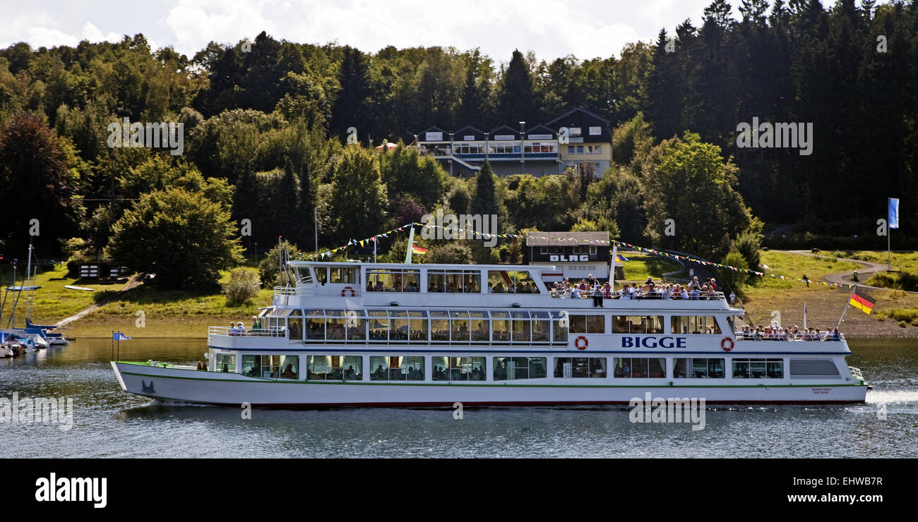 A tour boat on the reservoir Bigge. - Stock Image