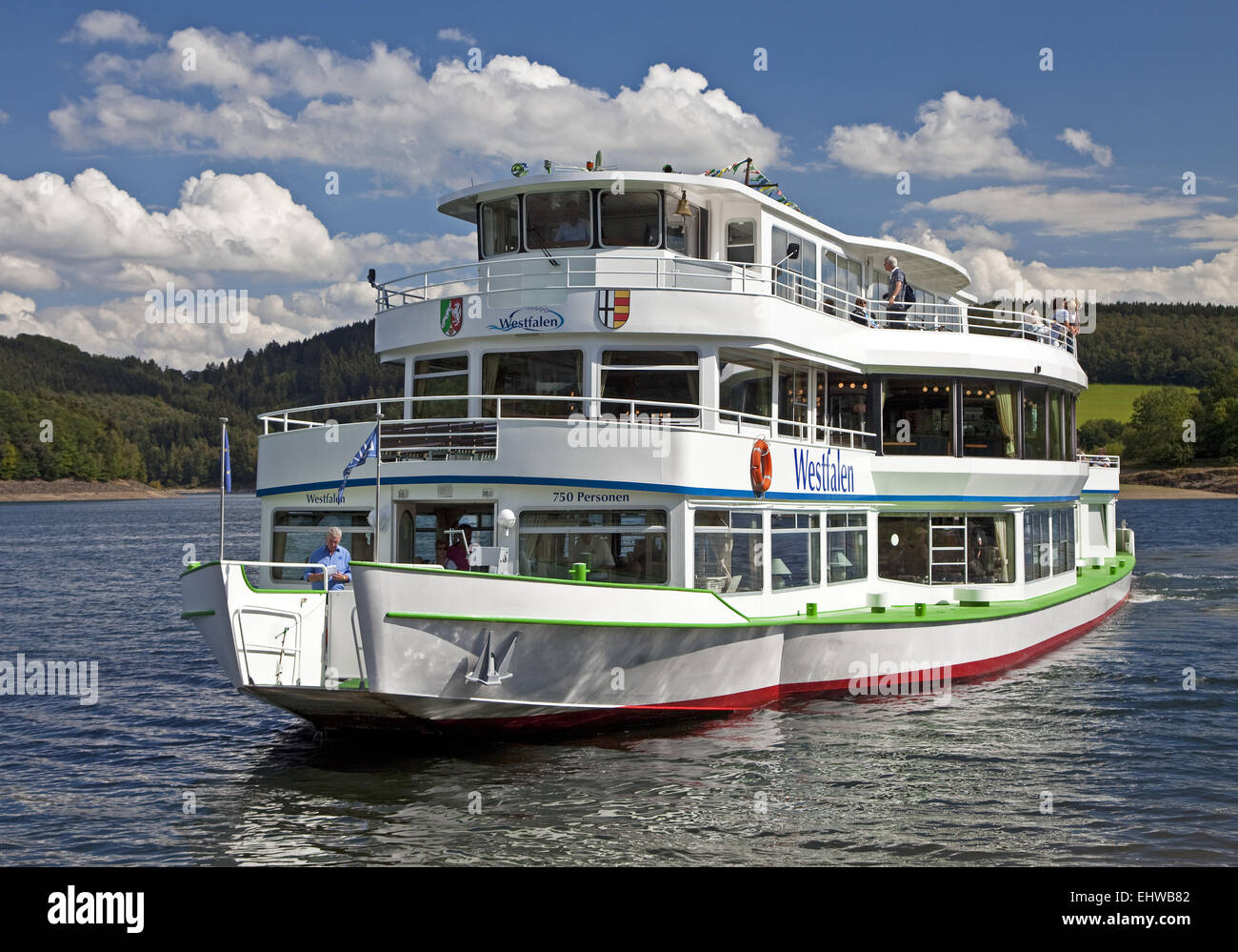 The excursion boat on the Bigge Westphalia. - Stock Image