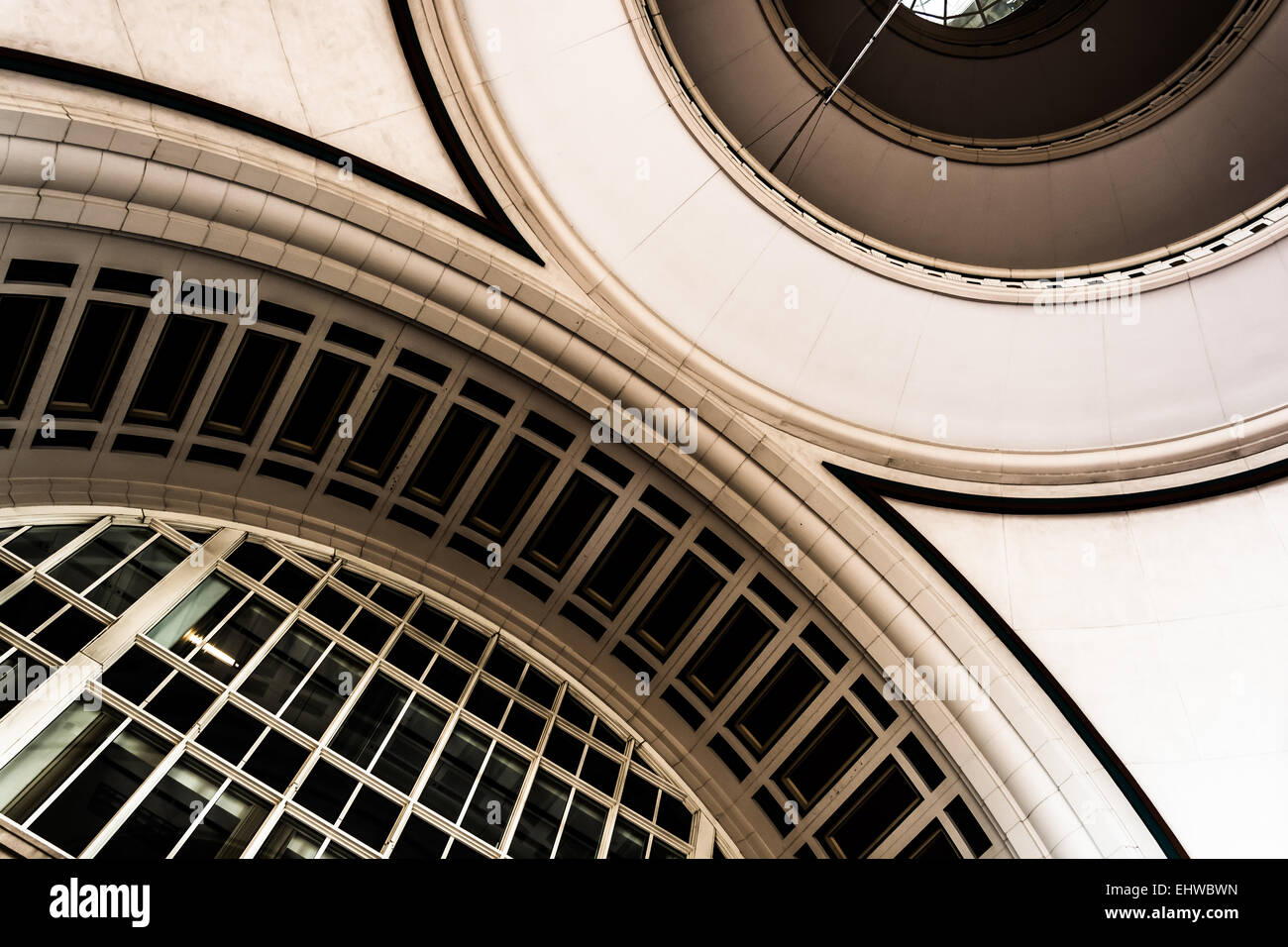 Architecture inside Rowes Wharf, in Boston, Massachusetts. - Stock Image