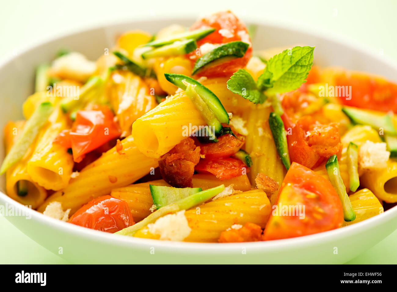 pasta, tortiglioni, italian, tomato, vegetables, basil, carbohydrate, cheese, durum, mediterranean, semolina, wheat, - Stock Image