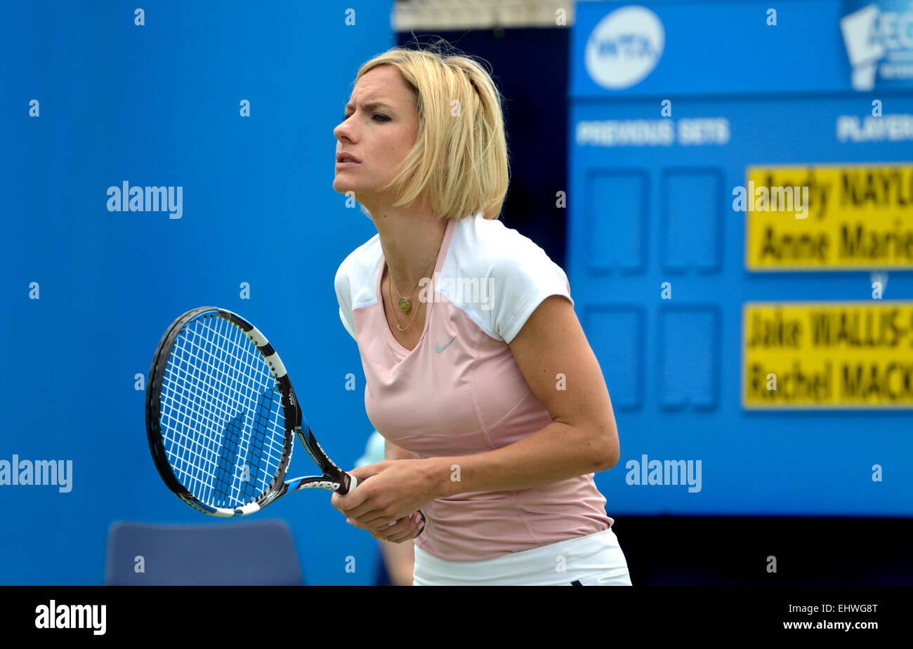 Rachel Mackley (BBC South East weather presenter) playing in a special media match at Devonshire Park, Eastbourne, - Stock Image
