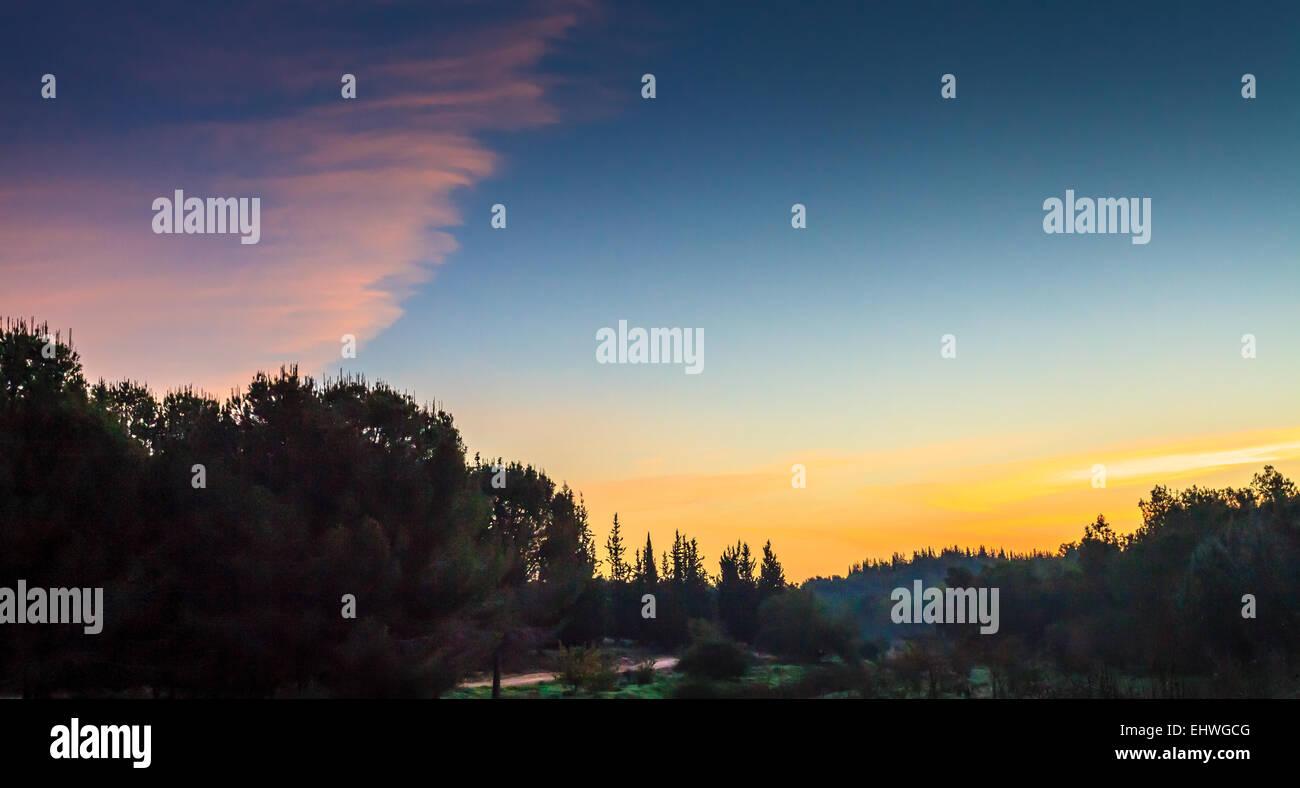Dawn in Rosh Haayin, Israel - Stock Image