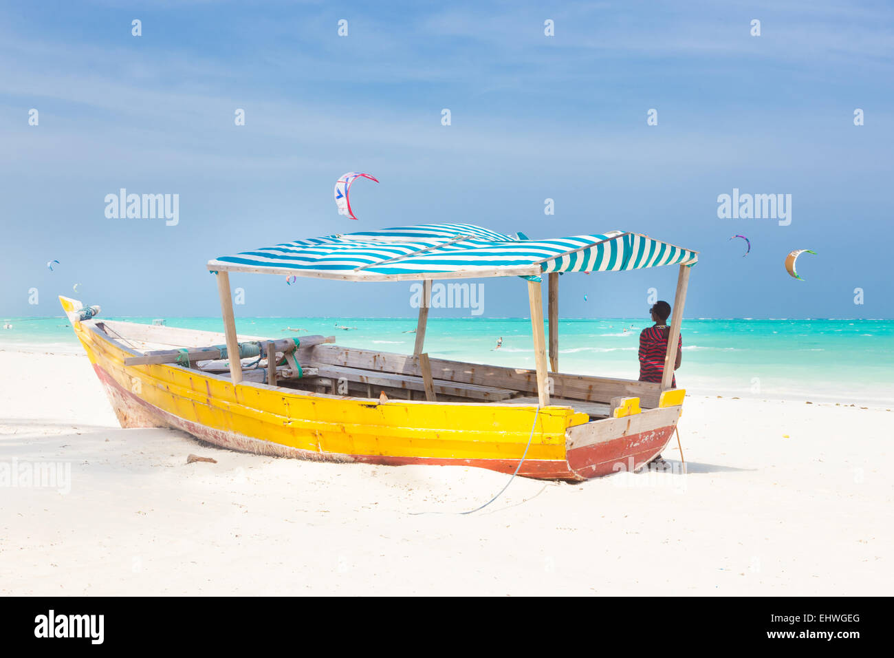 White tropical sandy beach on Zanzibar. - Stock Image
