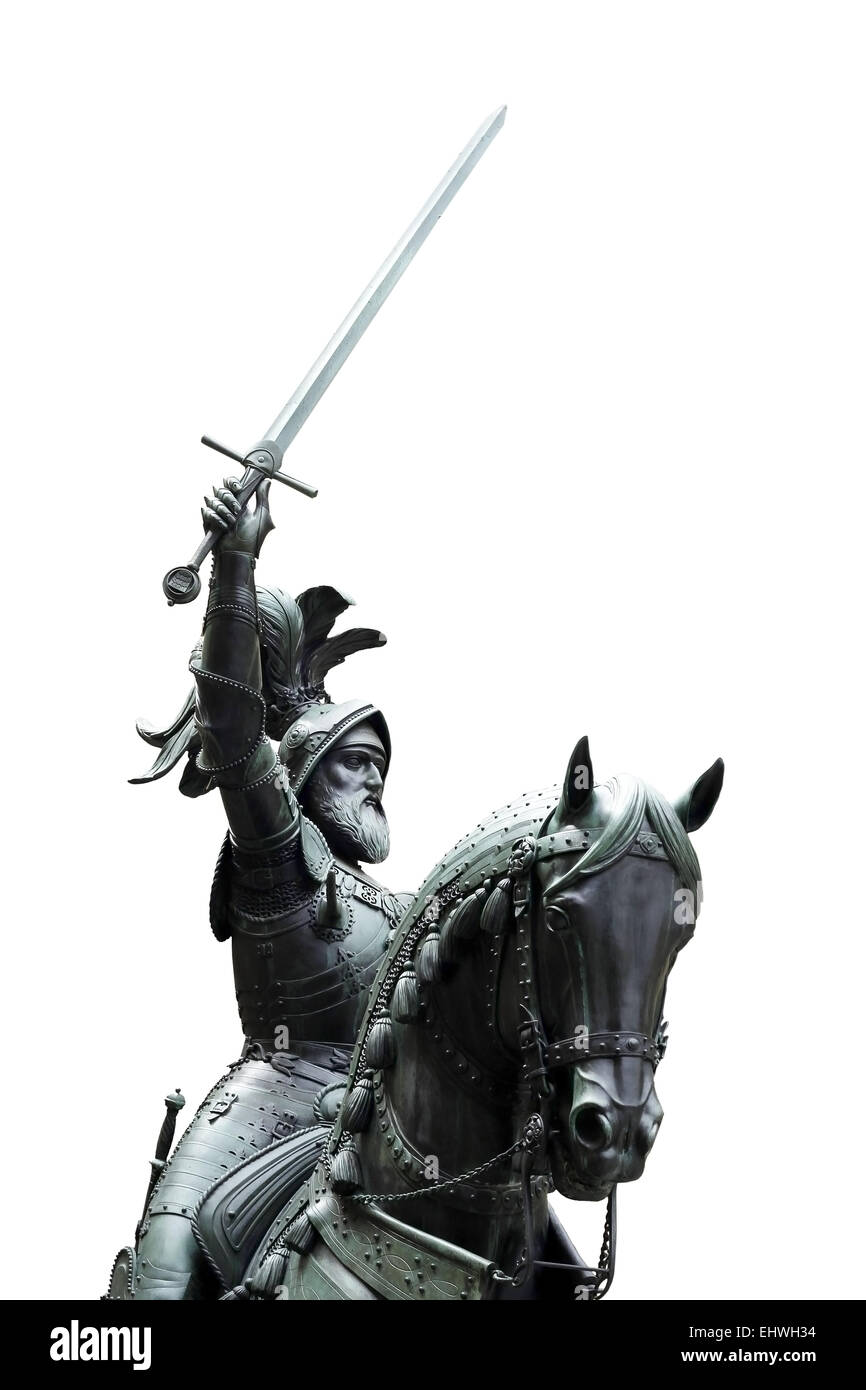 Isolated equestrian statue of Eberhard I, Count of Württemberg (1265 - 1325), Stuttgart, Germany - Stock Image