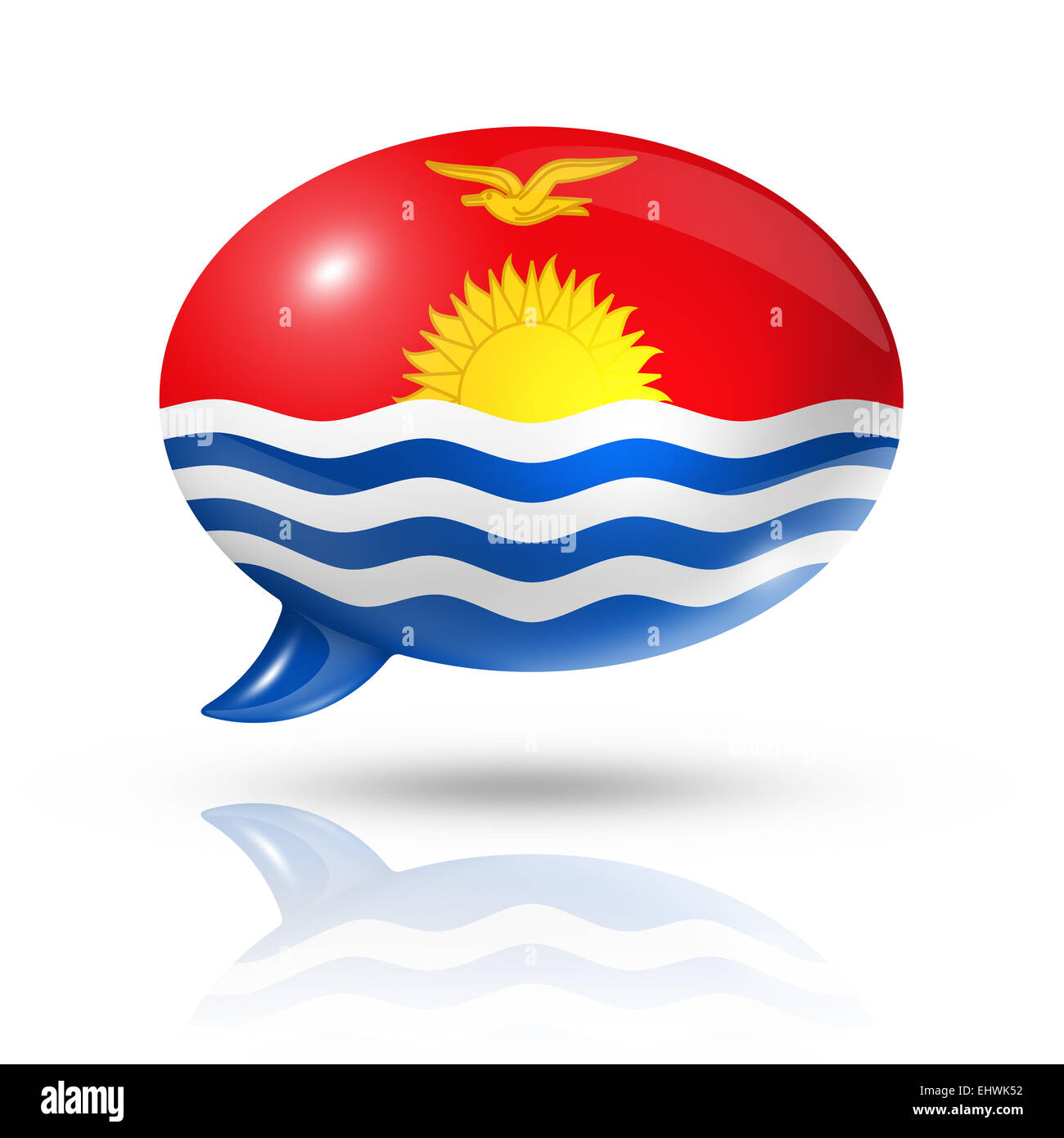 three dimensional Kiribati flag in a speech bubble isolated on white with clipping path - Stock Image