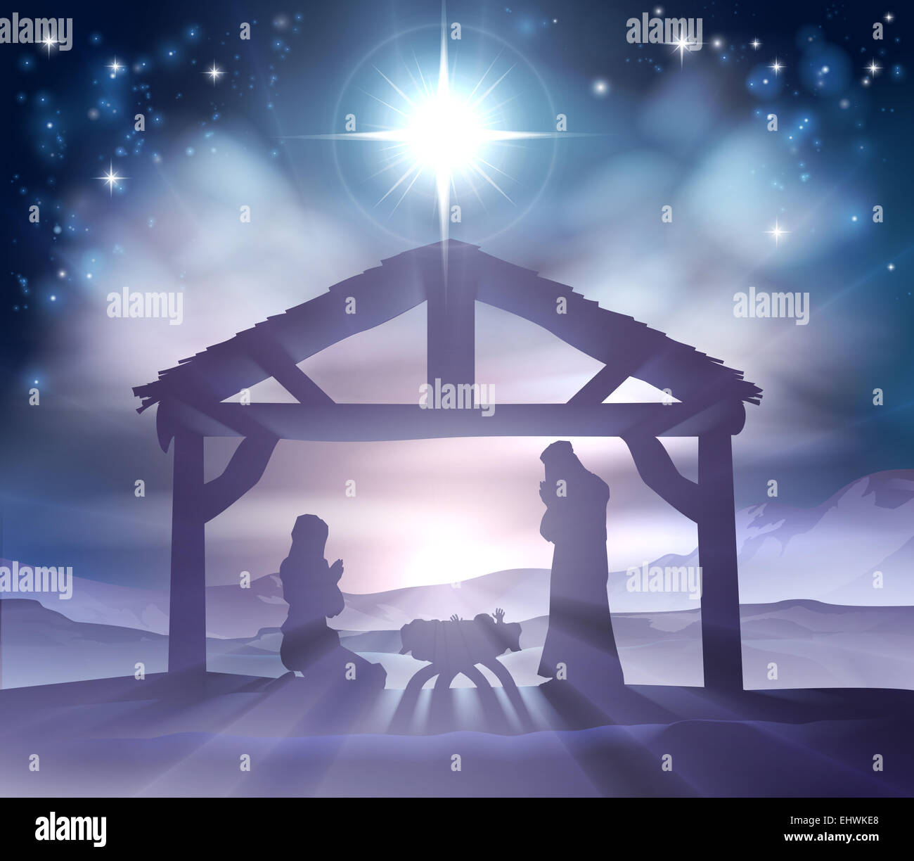 Christmas Stable Background.Traditional Christian Christmas Nativity Scene Of Baby Jesus