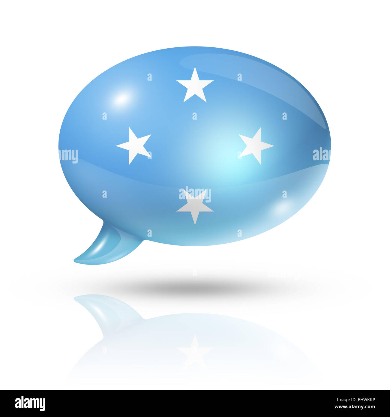 three dimensional Micronesia flag in a speech bubble isolated on white with clipping path - Stock Image