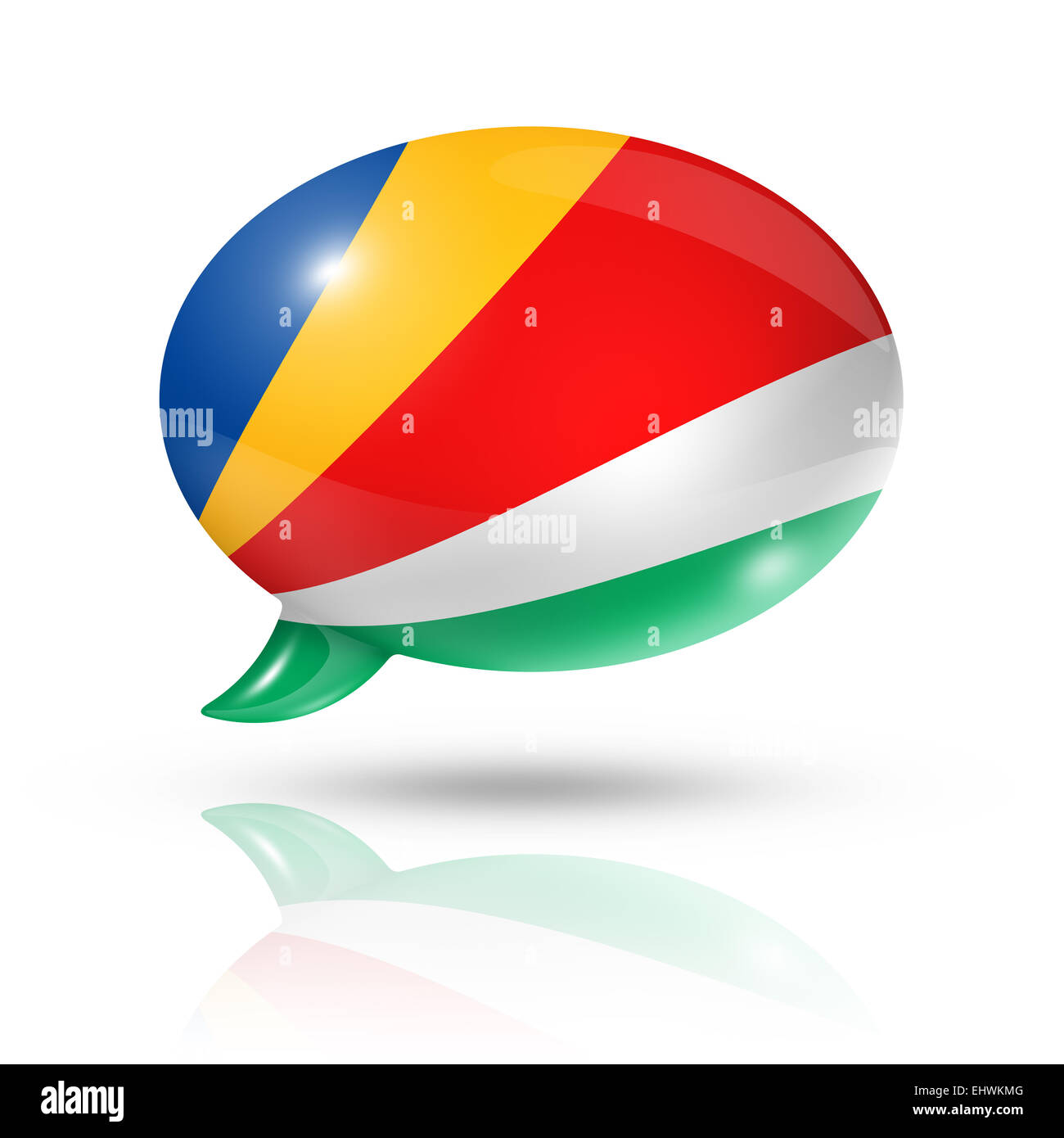 three dimensional Seychelles flag in a speech bubble isolated on white with clipping path - Stock Image
