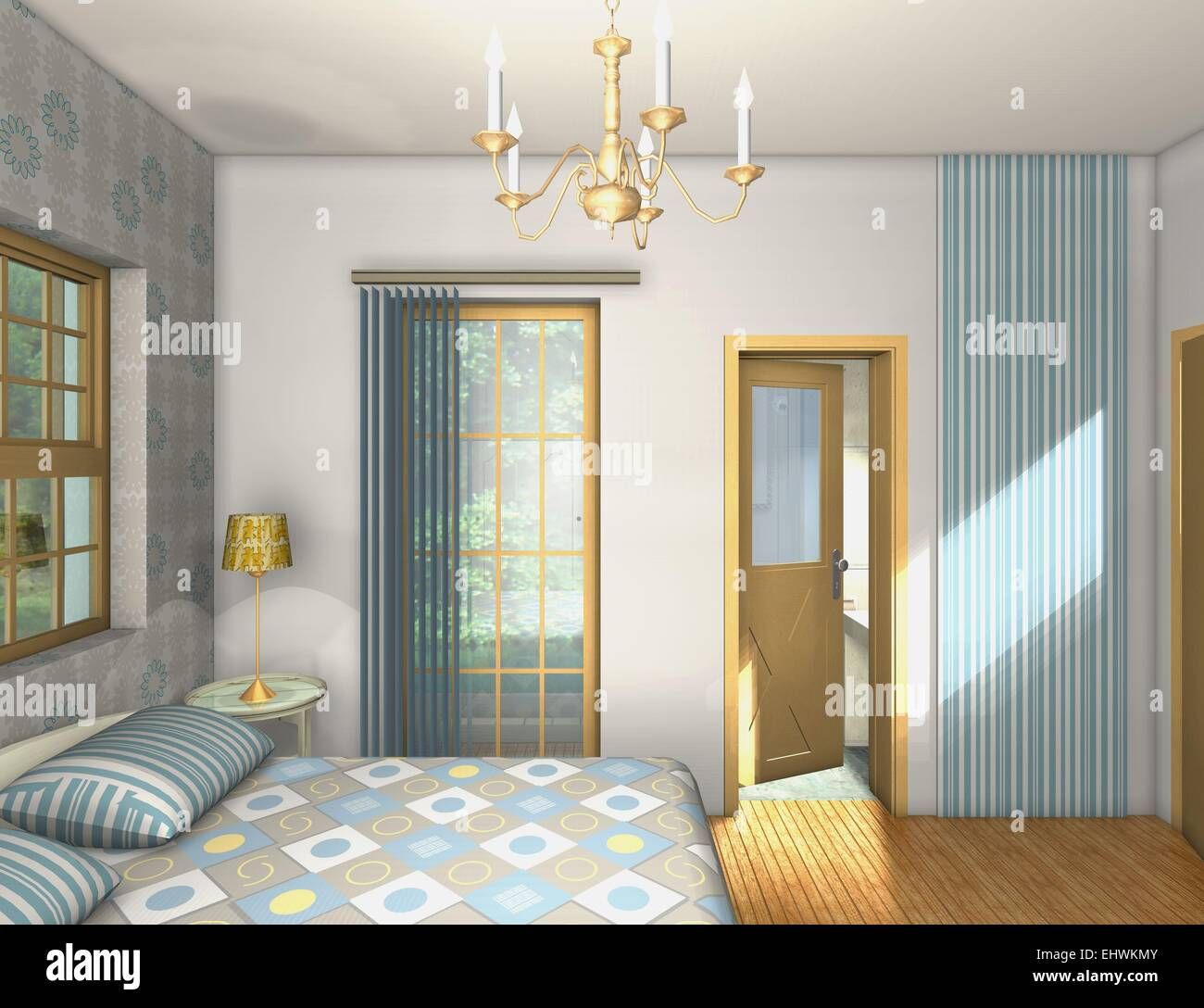 Mix and match colors,shapes,materials in classic master bedroom Stock Photo