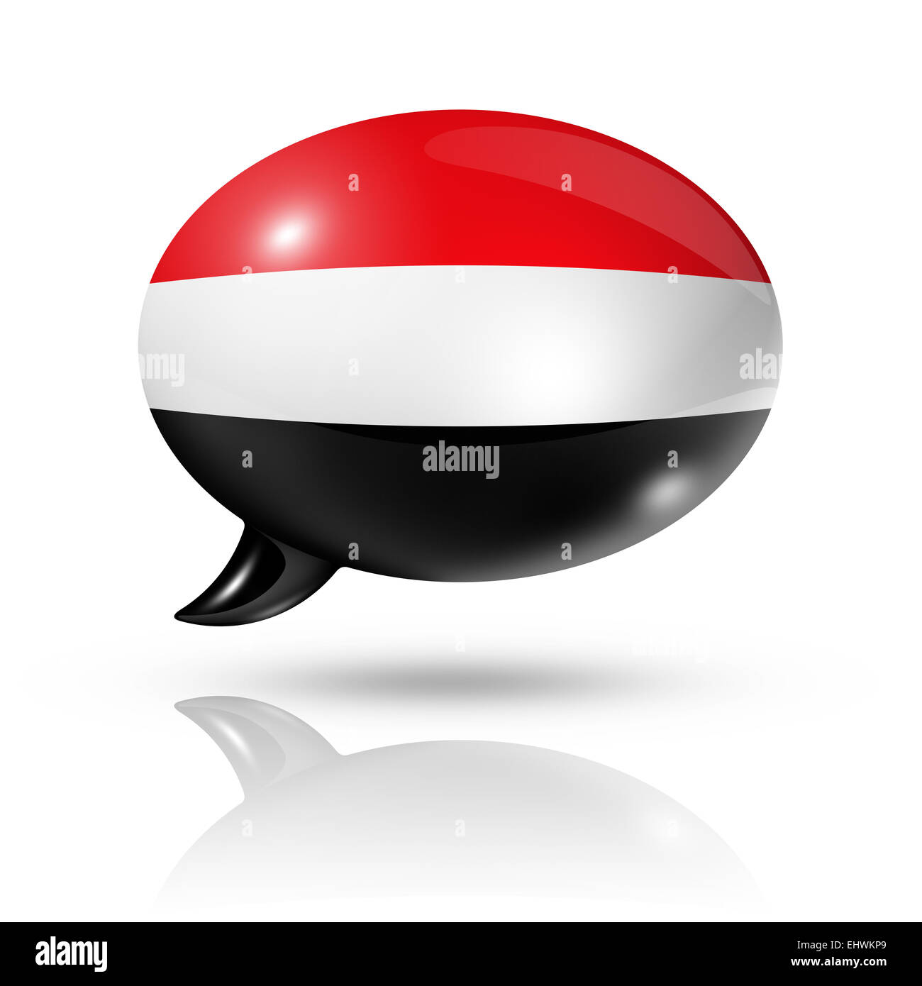 three dimensional Yemen flag in a speech bubble isolated on white with clipping path - Stock Image
