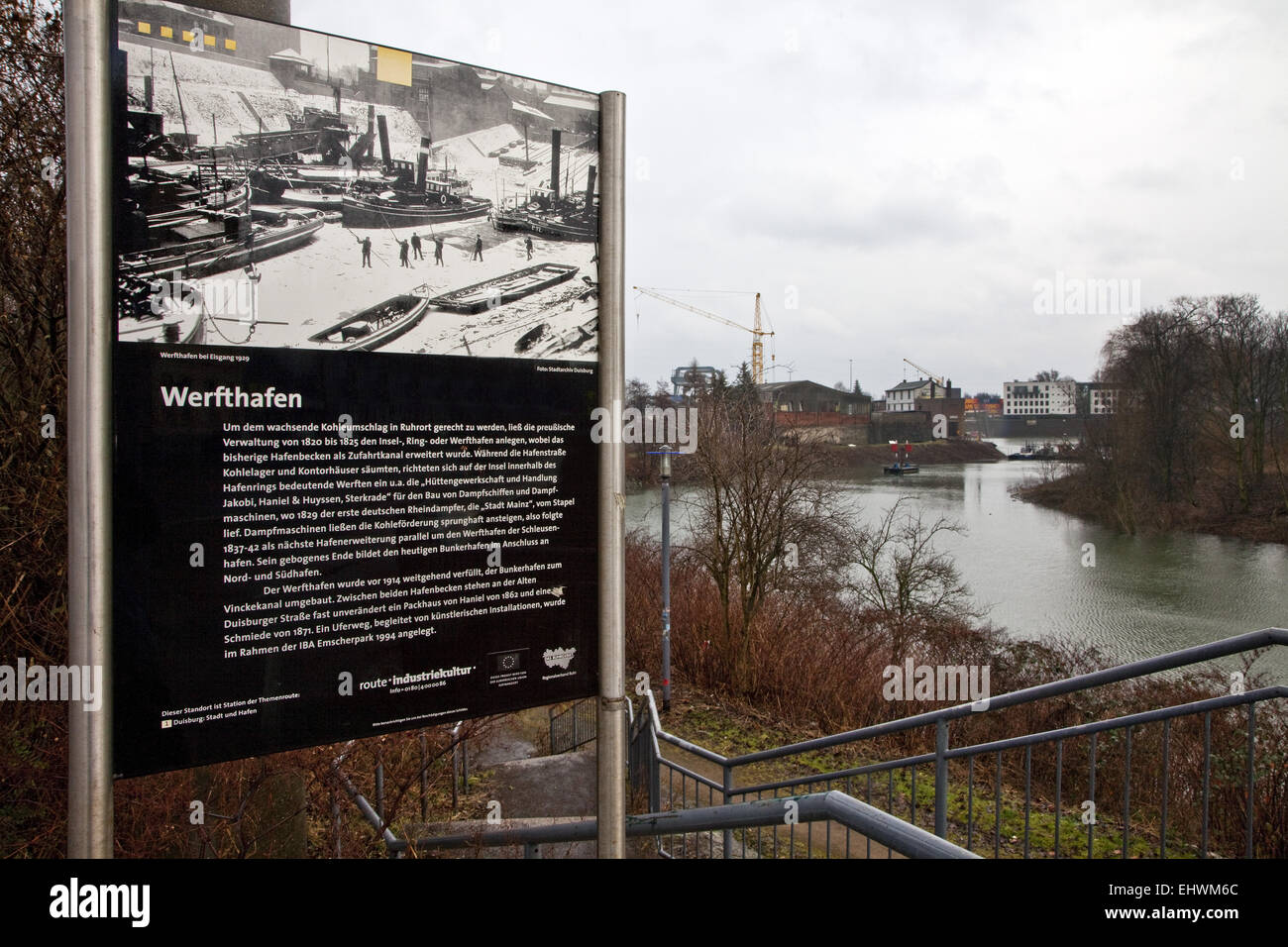 Informartions panel inland port in Duisburg. - Stock Image