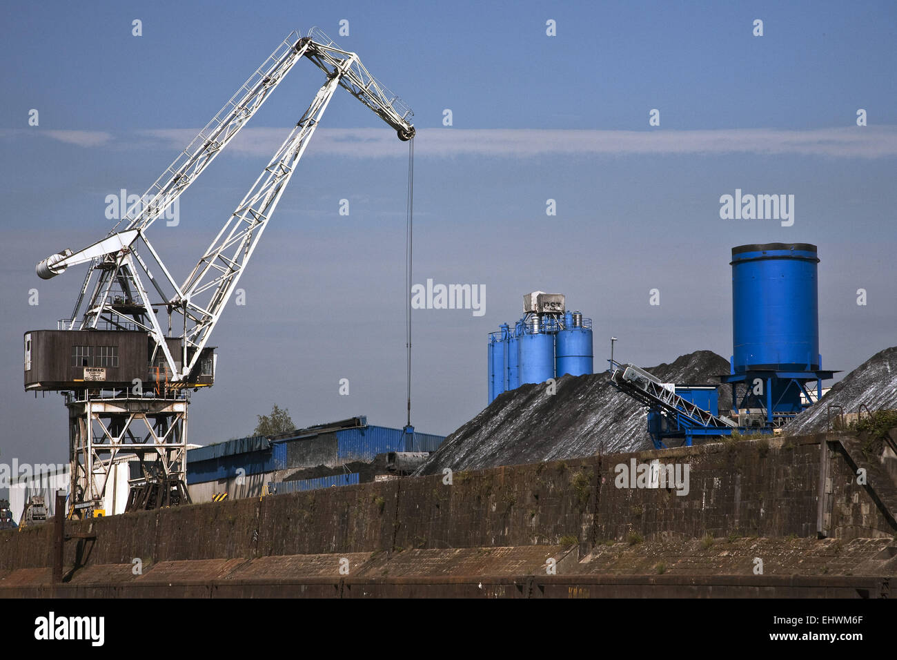 Inland port in Duisburg, Germany. - Stock Image