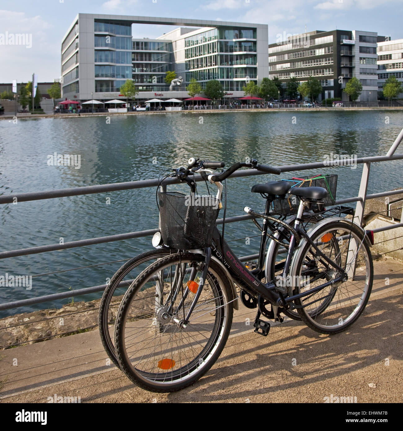 Two bikes, Duisburg inner Habour, Germany. - Stock Image