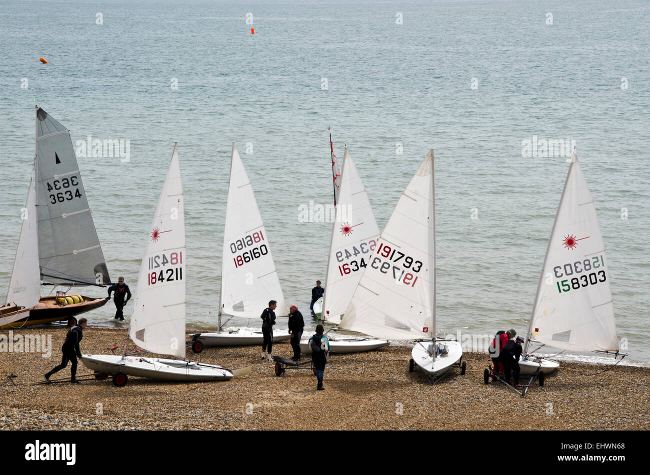 Hasting coastlines sailing boats pulled for maintain - Stock Image