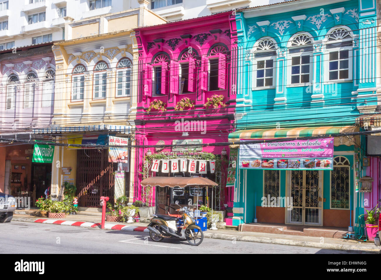 Restored Sino Portuguese architecture shophouses in Phang Nga road. Old Phuket town, Thailand Stock Photo