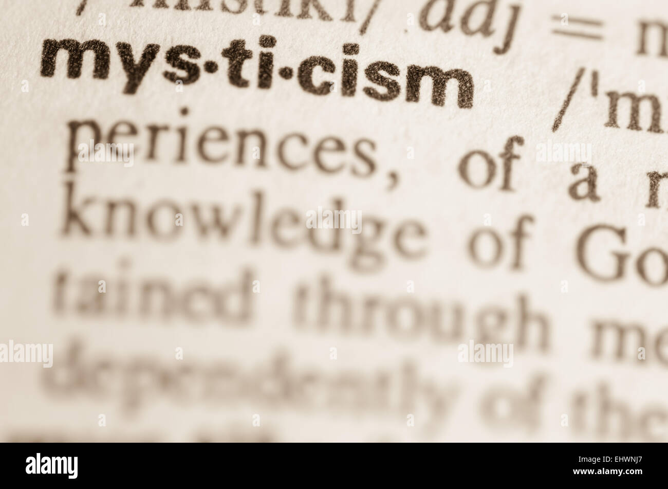 Definition of word mysticism in dictionary Stock Photo