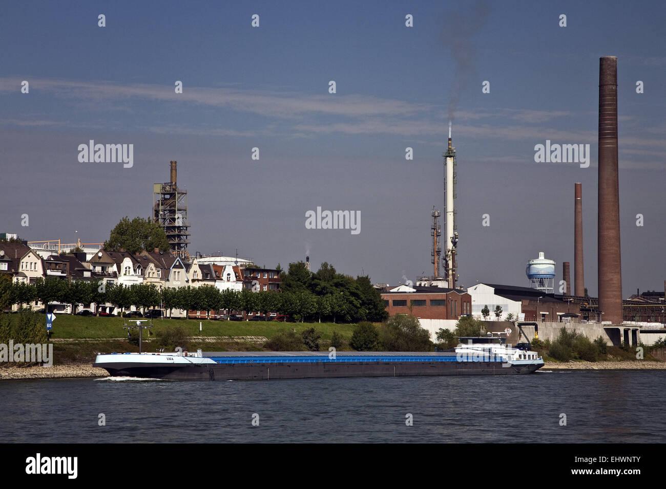 Cargo ship Rhein, Duisburg, Germany. - Stock Image