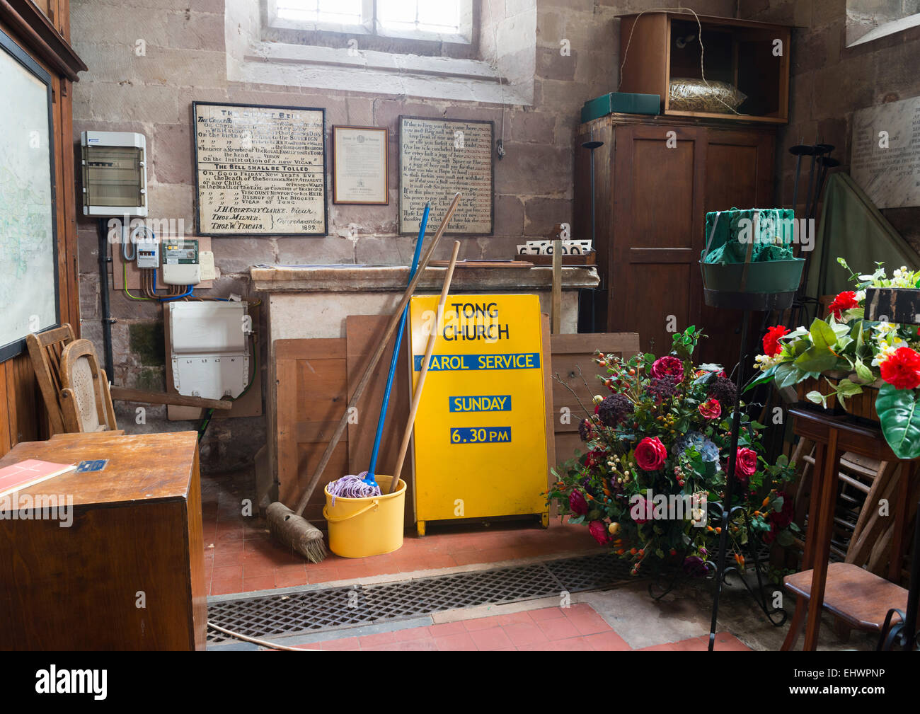 Behind the scenes in St Bartholomew's Church, Tong, Shropshire, England. - Stock Image