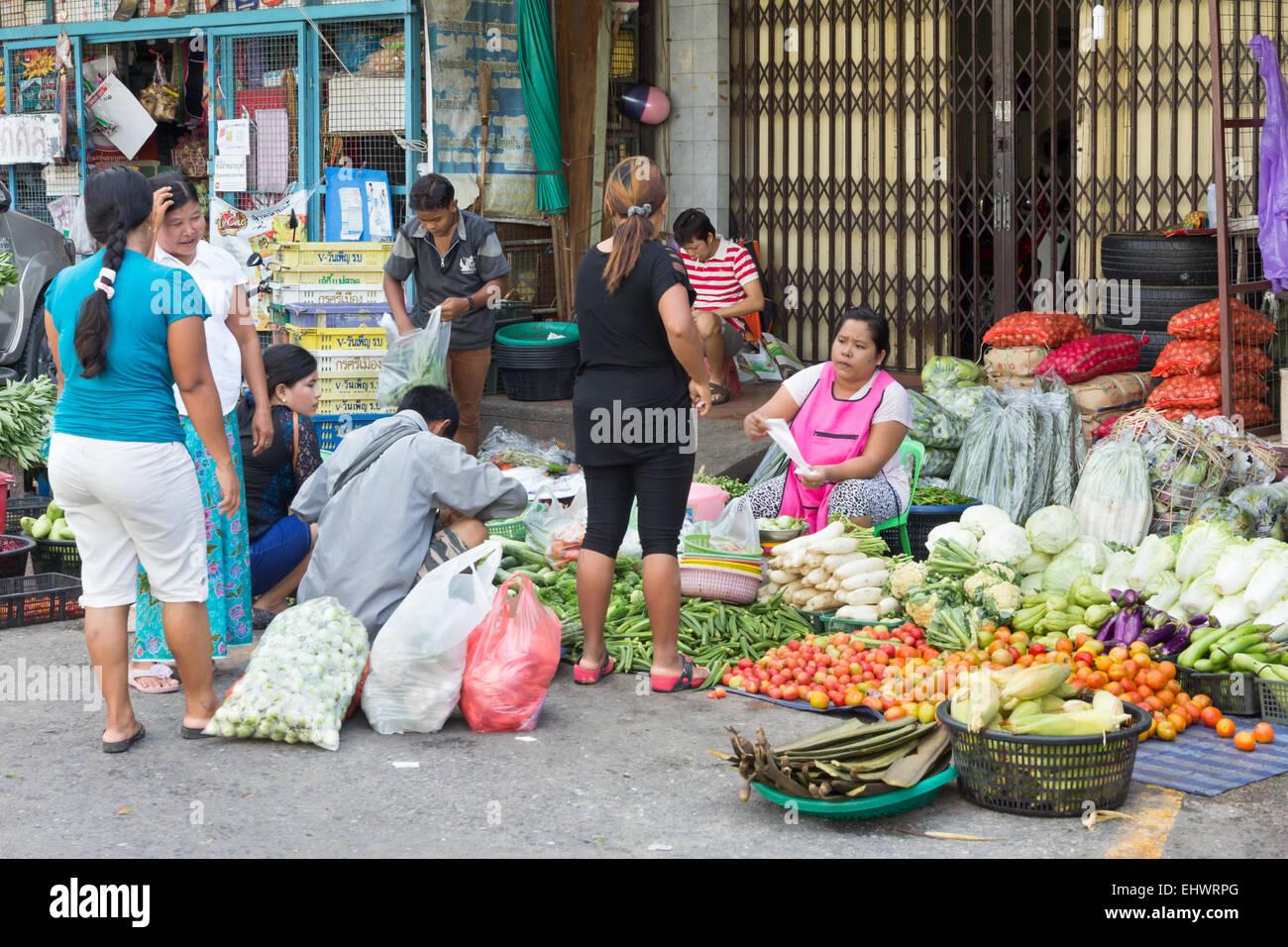 Street market stall in Phuket Town, Thailand Stock Photo