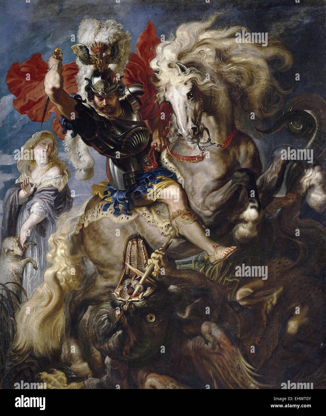 Peter Paul Rubens  Saint George Battles the Dragon - Stock Image
