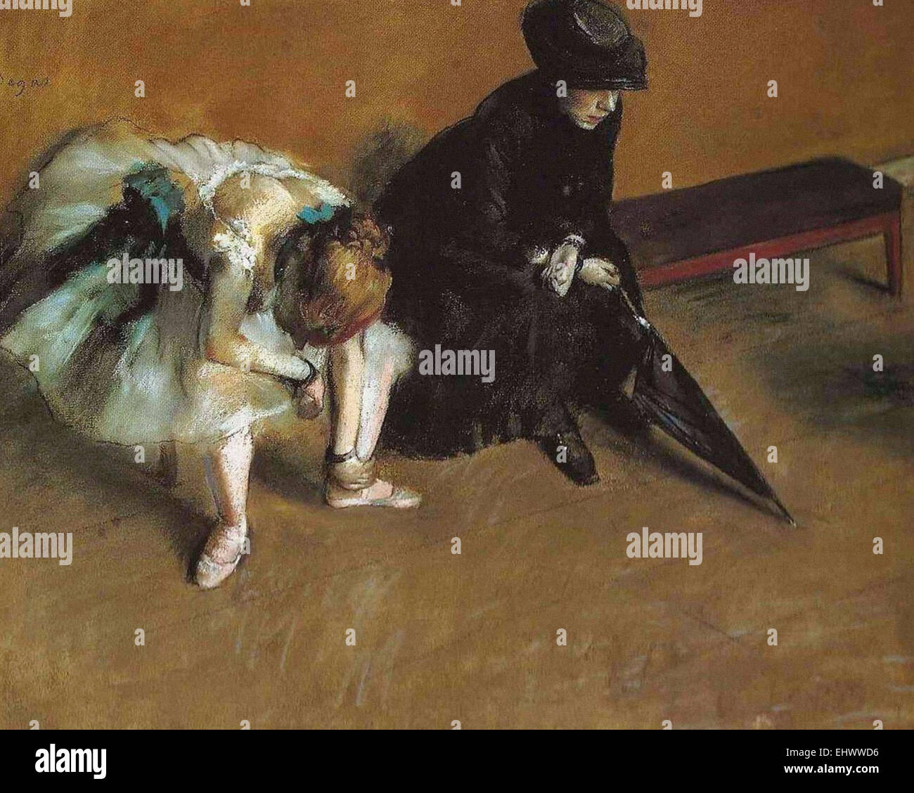 Edgar Degas  Waiting - Stock Image