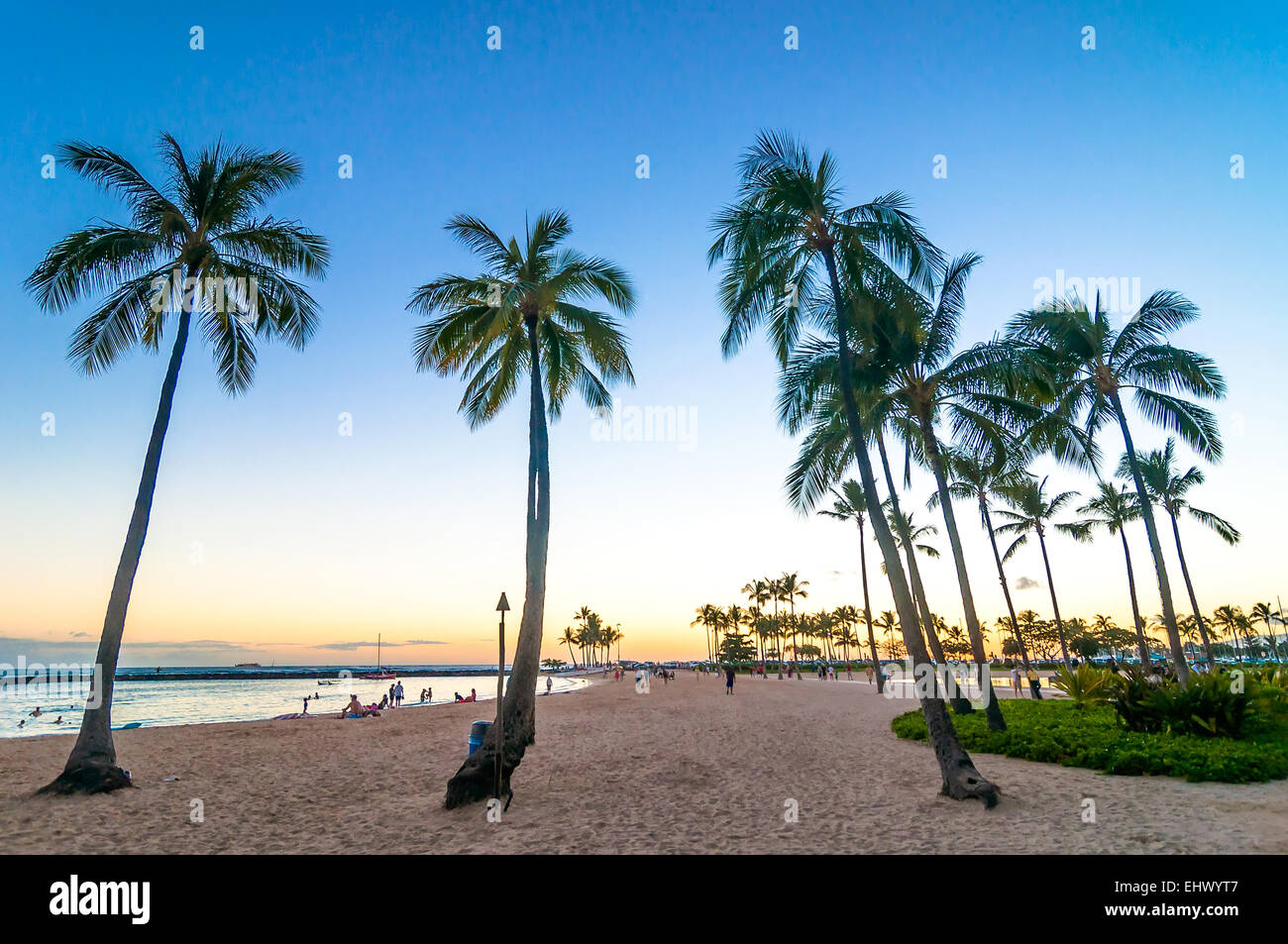 Sunset Time In Waikiki Beach Honolulu Hawaii Stock Photo