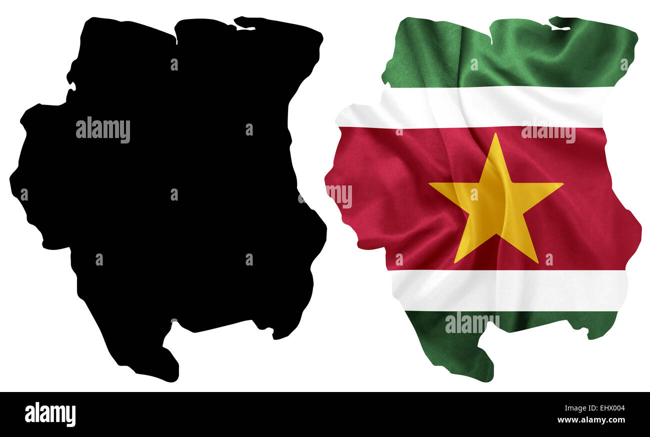 Suriname - Waving national flag on map contour with silk texture - Stock Image