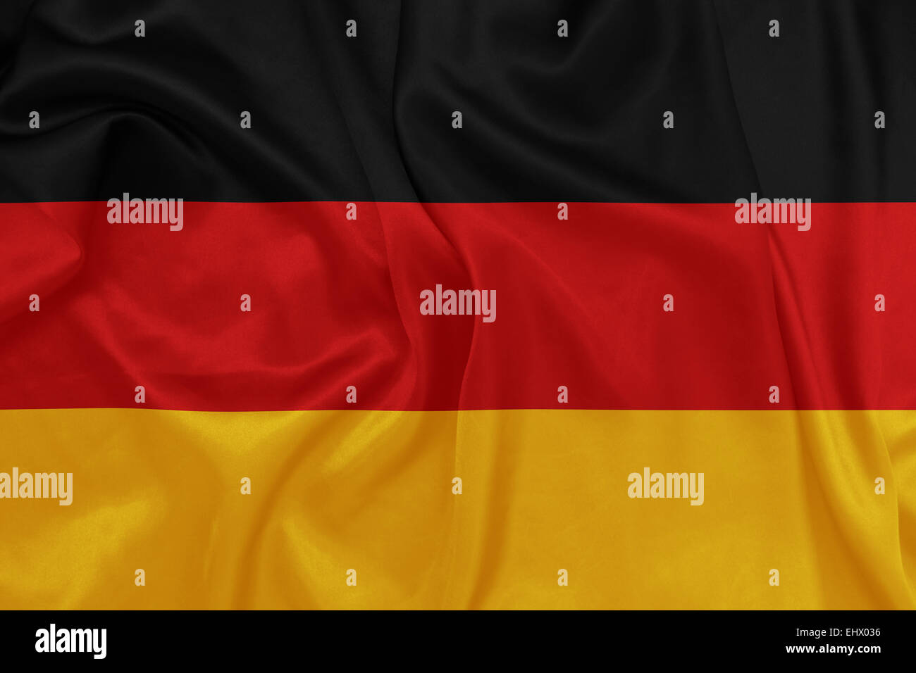 Germany - Waving national flag on silk texture - Stock Image