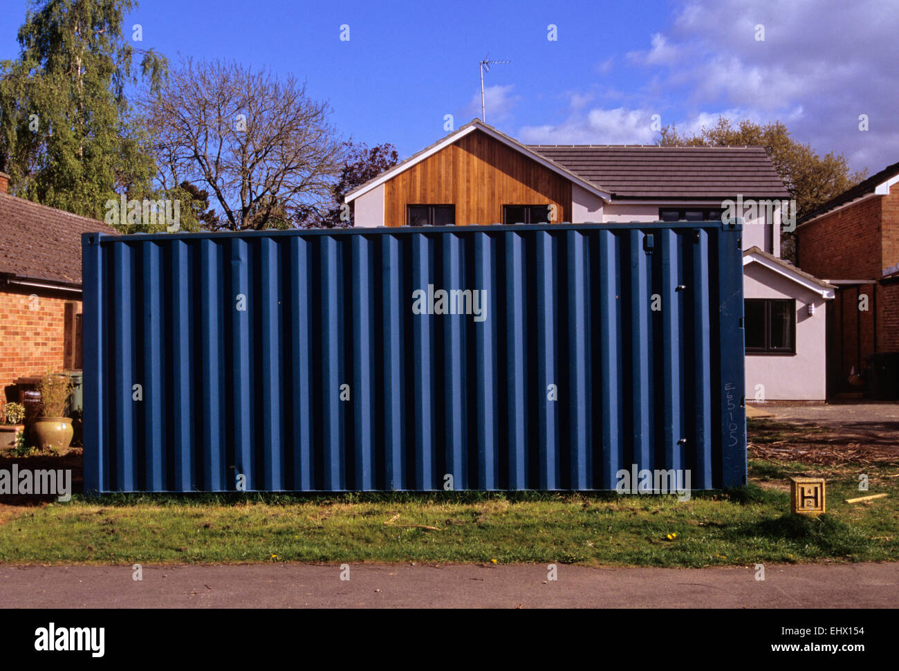 Shipping Container Used A Garden Shed In Front Garden Of House In  Henley On Thames UK