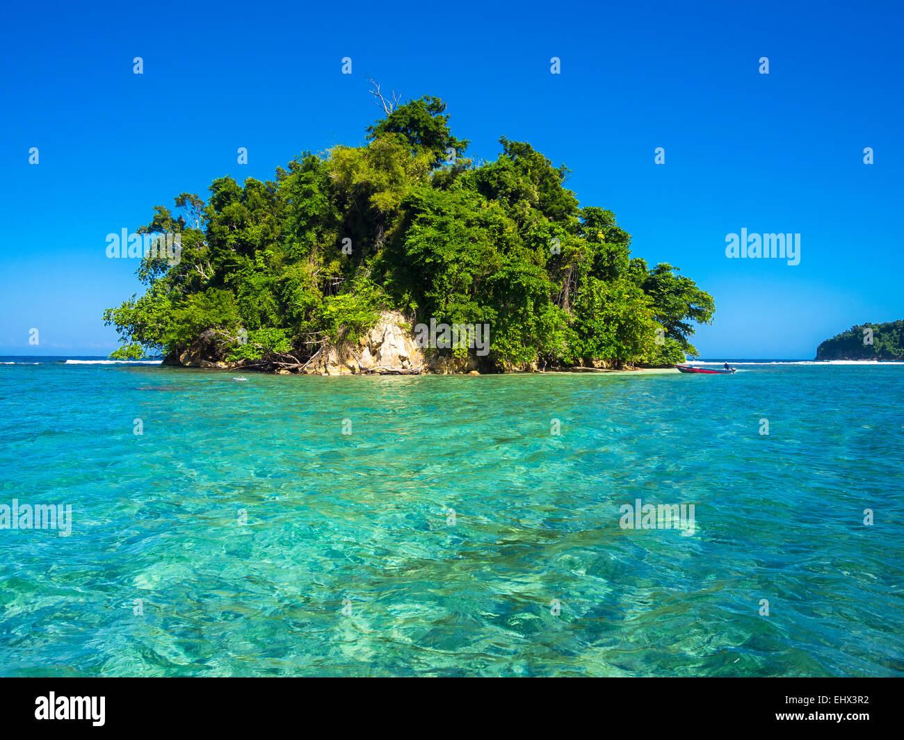 Caribbean, Greater Antilles, Jamaica, Portland Parish, Port Antonio, View to Pellew Island - Stock Image