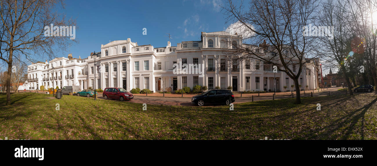 The Georgian terraced houses of Amelia Crescent, Worthing, West Sussex, UK - Stock Image