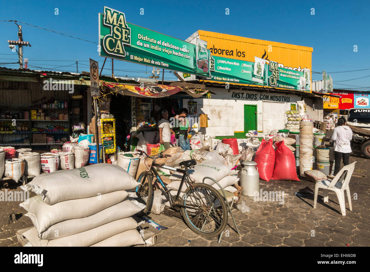 Sacks of semolina in the market place of this important north western city Leon; Leon, Nicaragua - Stock Image