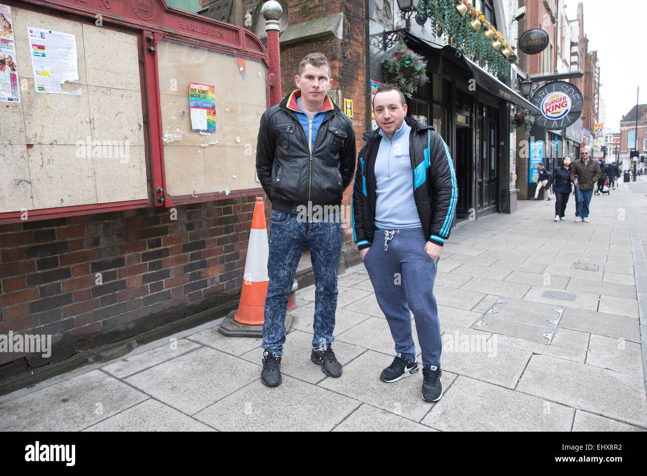 Romanian immigrants on the streets of Harlesden, Northwest London, England, UK - Stock Image