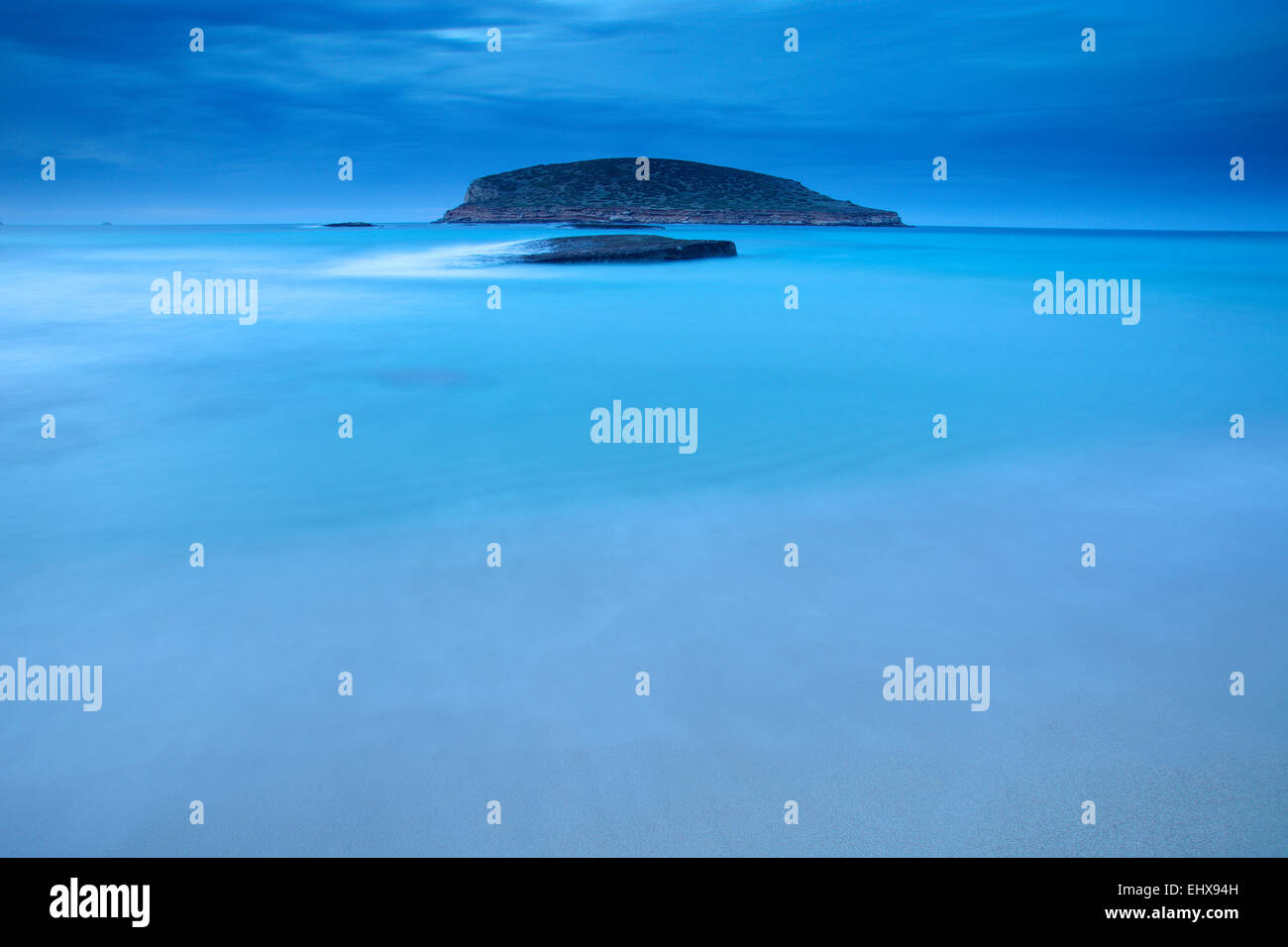 Spain, Ibiza, Cala Comte at blue hour - Stock Image