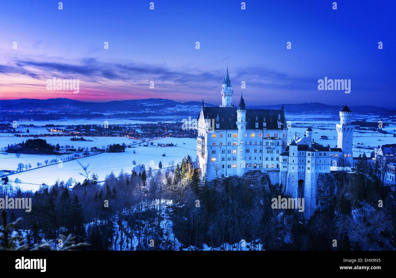 Neuschwanstein Castle near Fussen, Baviara, in Germany - Stock Image