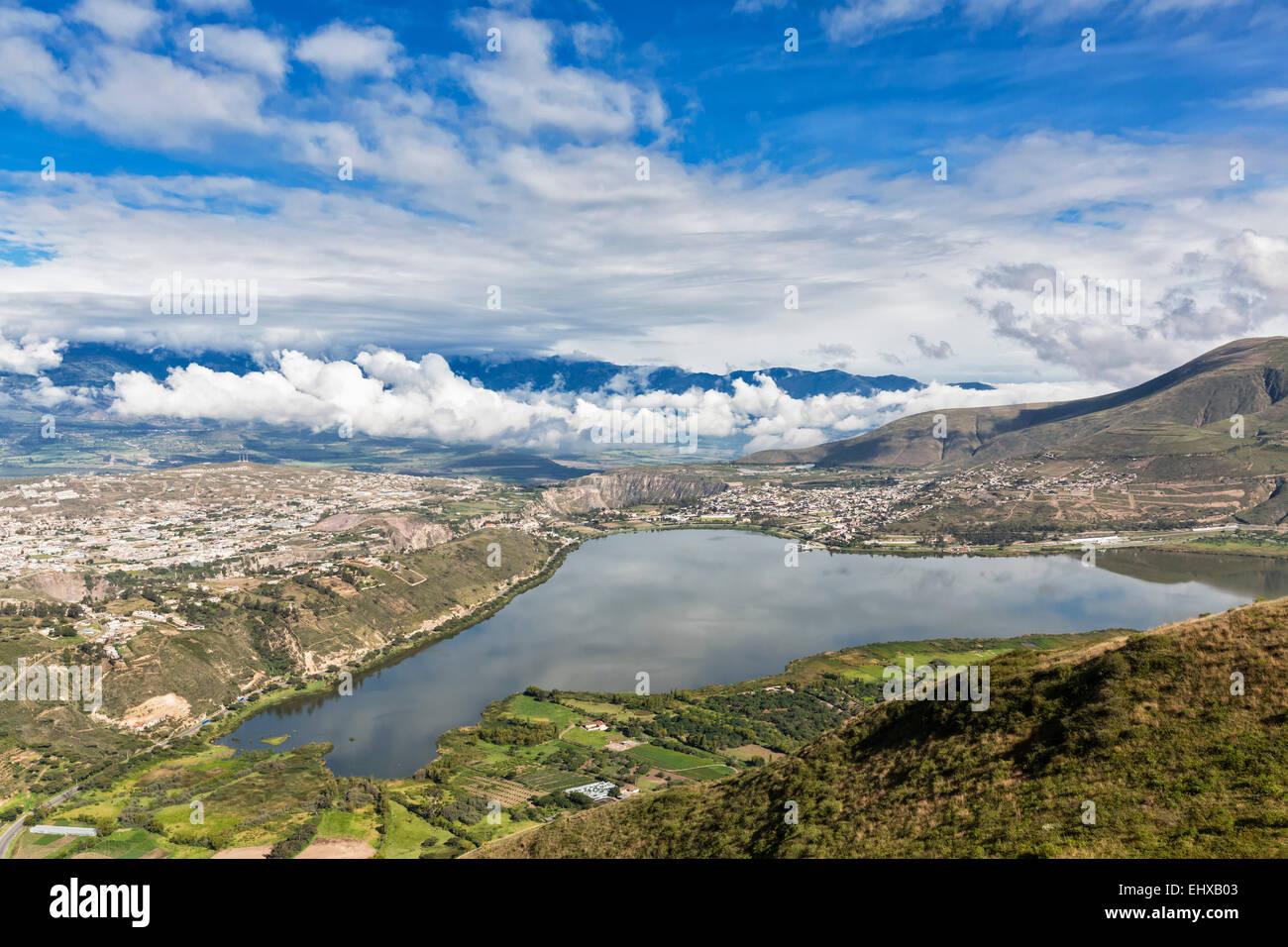 South America, Ecudador, Imbabura Province, Ibarra, View to Yahuarcocha Lake - Stock Image