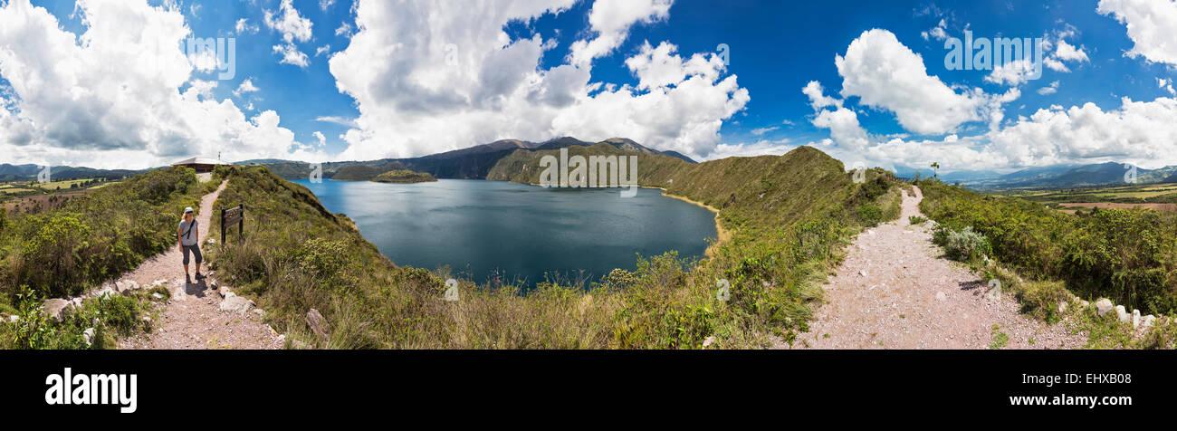 South America, Ecudador, Imbabura Province, Cotacachi Cayapas Ecological Reserve, Cotacachi, Cuicocha Lake, Panorama Stock Photo