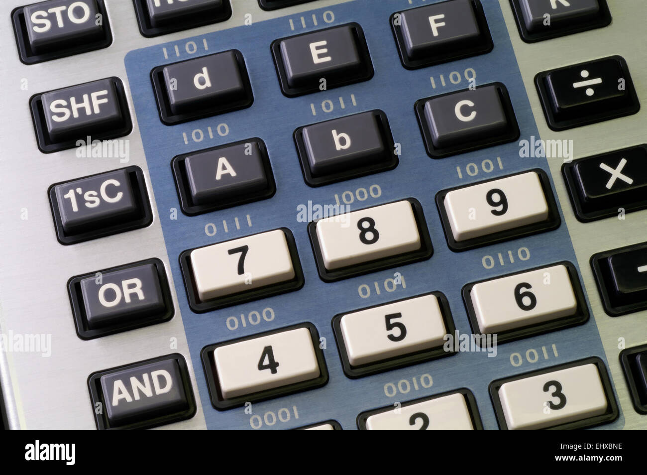 Programmer's calculator with hexadecimal and logic functions keys visible Stock Photo