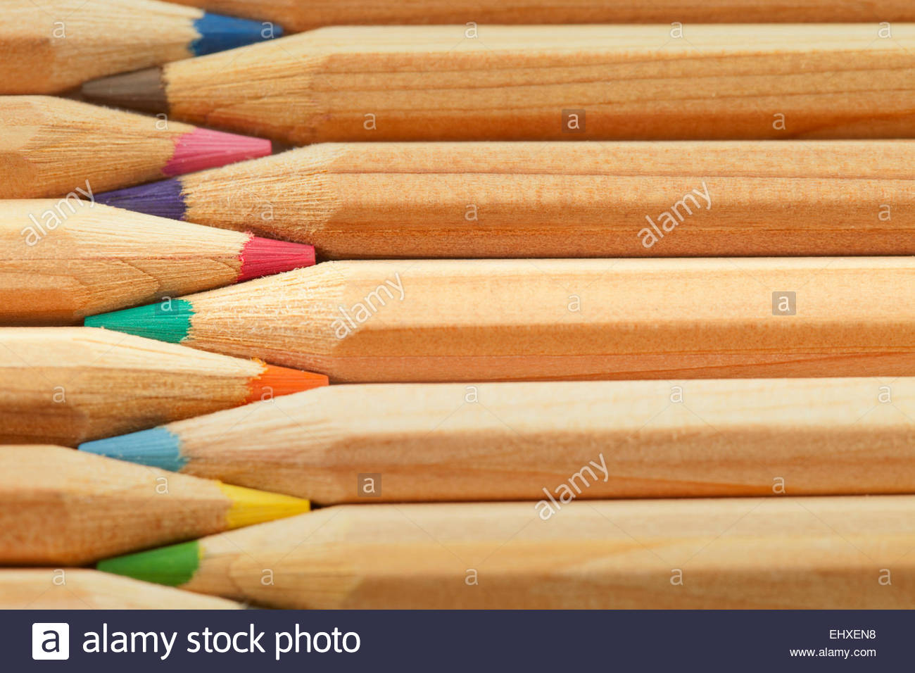 Colour pencils still life macro close up detail - Stock Image