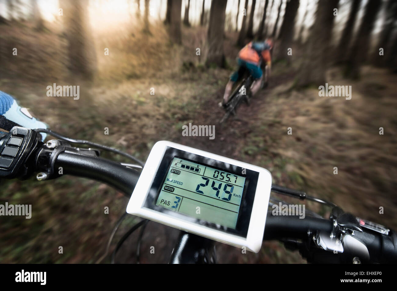 Driving view of mountain biking down hill descending fast on bicycle, Bavaria, Germany - Stock Image