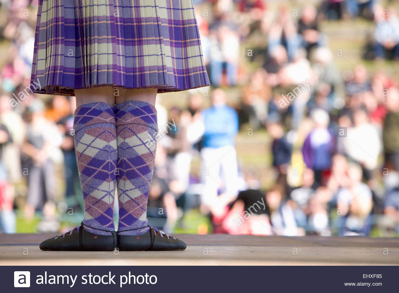 Highland dancing tartan girl kilt dancer Pitlochry - Stock Image